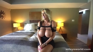 Milf with large titties acquires screwed and overspread with cum