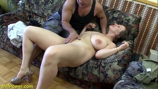 Busty german milf enjoys a large jock in her gazoo