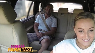 Female fake taxi giant milk sacks cabbie craves pecker on the backseat
