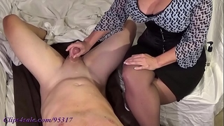 Busty milf milks guy