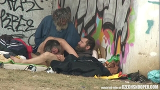 Pure street life homeless trio having sex on public