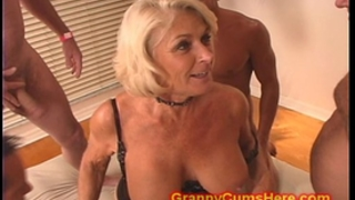 Granny acquires a gang group-sex and cum bathroom