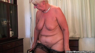 British and full figured granny sandie masturbates with a marital-device