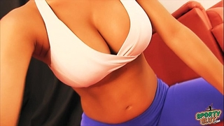 Busty pregnant working out! round gazoo, cameltoe, massive melons!