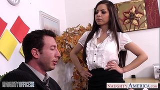 Chesty brunette hair yurizan beltran acquires drilled in office
