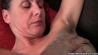 Hairy granny with hard nipps
