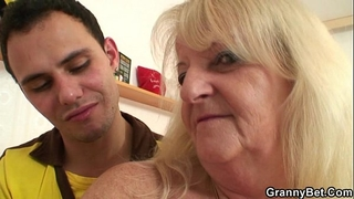 He brings golden-haired grandma home for hard fuck