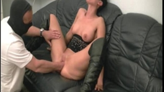 Hot brunette hair milf fisted by the builder