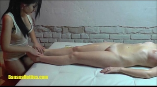 Lesbian oil massage by 2 19yo czech non-professional honeys