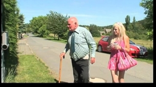 Blonde hottie fucking an old fellow