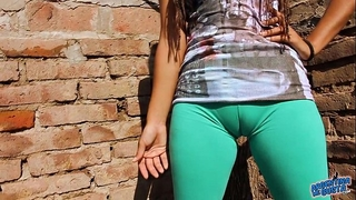 Big cameltoe legal age teenager in ultra taut leggins! large round wazoo n love melons