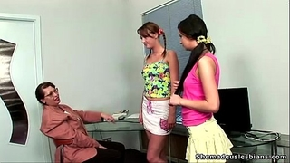 Old lesbo teacher turns excited from watching her coeds licking every other