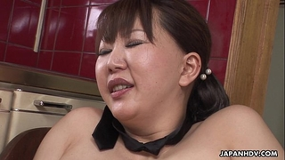 Chubby japanese milf groans during the time that her curly slit is toyed