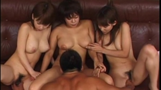 Three pecker starve oriental sharing on a favourable dudes hard knob