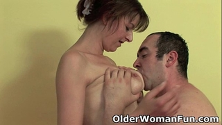 Mom takes a cum load in her face hole