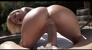 Tiny4k blond white women widens vagina for massive rod by pool