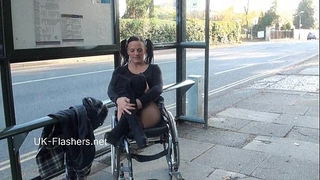 Paraprincess outdoor exhibitionism and flashing wheelchair fastened chick showing