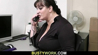 Busty floozy gets slammed at workplace