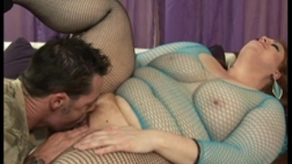 Julie ann greater quantity uses her bloated body to team fuck a large boner