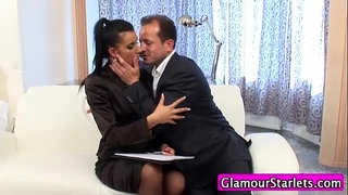 Clothed businesswomen oral