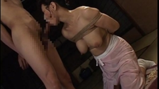 Bound japanese milf sucks on a hard dong