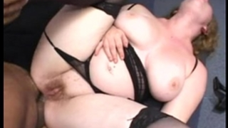 Chubby redhead drilled in the gazoo wearing a strap