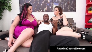 Cuban queen angelina castro & sara jay blow a large dark weenie