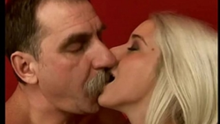 Stunning blond drilled by messy old stud