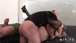 Bbw french aged in pants receives hard pounded in 3some