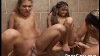 three sexy schoolgirls in lesbo scene