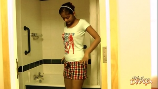 Seductive Dark Skin Order of the day Girl Striptease In Shower