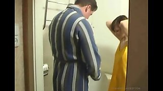 Dad and daughter fuck in the water closet