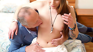 Teen babe seduced by a man several generation her age