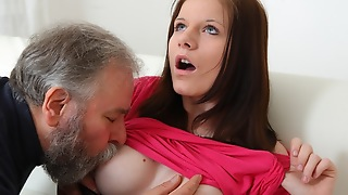 Maria lets an old guy fuck her and then receives her boyfriend to join back with the action