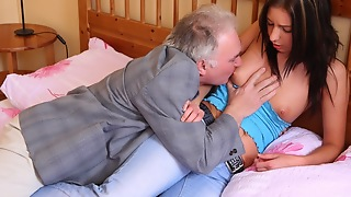 Zarina gets her little boobs cum soaked by the one and the other her boyfriend and the older tramp
