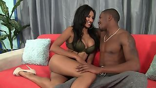 Dark-skinned damsel with bubbly tits loves intense pussy pain