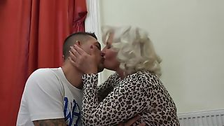 Perverted granny in stockings plus high heels shagged on the couch