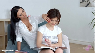 Lesson fantasies by sapphic erotica - fleshly lesbo scene with kyra queen veronic