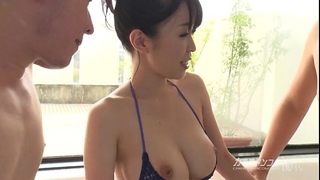 Busty oriental boobjon on bathroom three-some