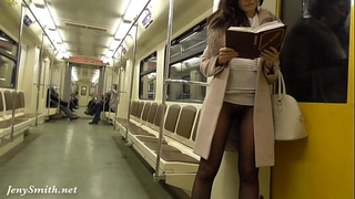 Jeny smith seamless hose subway vagina flash