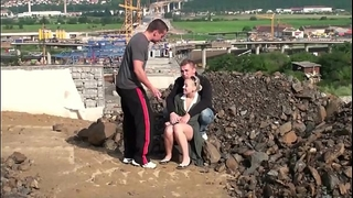Young golden-haired little chick is drilled in public sex construction web resource 3some
