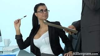 Sexy milf jasmine jae plays the office whore addicted to hard penis
