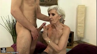 Sexy golden-haired older fucking and engulfing a juvenile dude