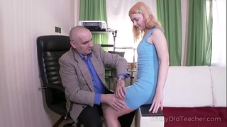 Tricky old teacher - old but tireless teacher satisfies blond
