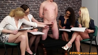 British cfnm hotties jerking their sub in group