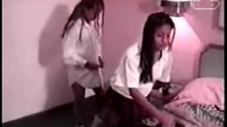 Two mexicans schoolgirls enjoying
