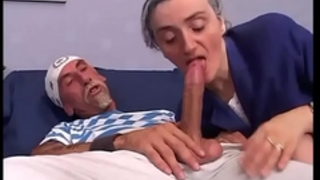 Old woman gangbanged doggy style on the bed